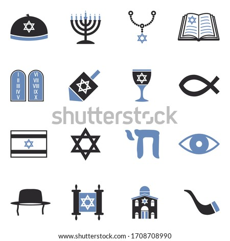 Judaism Icons. Two Tone Flat Design. Vector Illustration. Foto stock ©