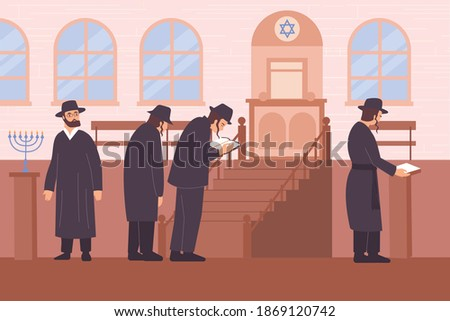 Judaism religion flat composition with view of synagogue with star of judah and characters of rabbis vector illustration Photo stock ©