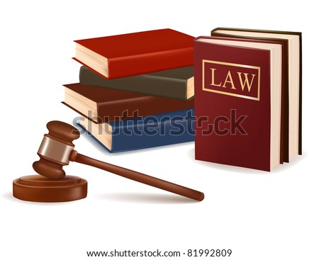 Judge gavel and law books. Photo-realistic vector.