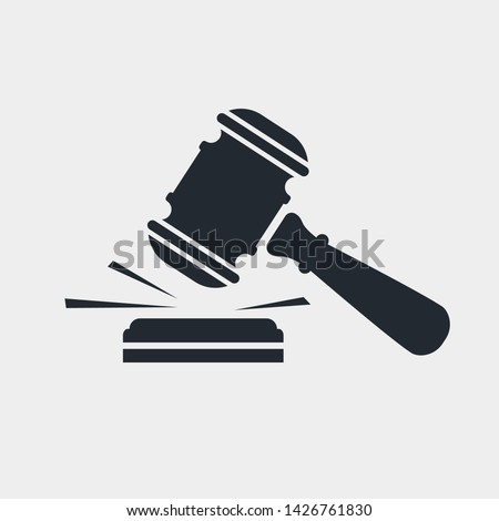Judge gavel black icon. Auction silhouette hammer. Isolated on white background. Vector illustration flat design. Pictogram law.