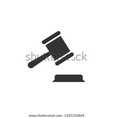 Judge Gavel Icon in trendy flat style isolated on white background.Modern simple symbol for web logo app UI. Vector.