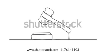 Judge gavel. One line drawing.