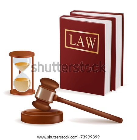 judge gavel  sandglass and law