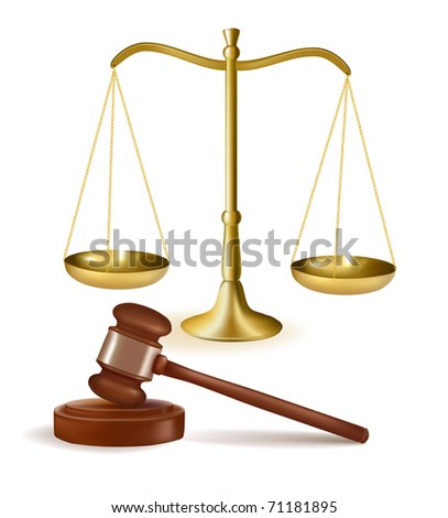 Judge gavel with scales. Vector illustration.