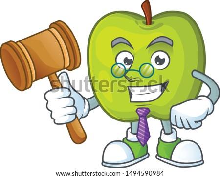 Judge granny smith apple character for health mascot