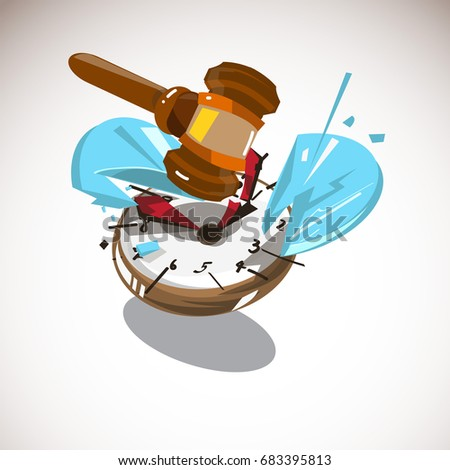 judge hammer hitting on clock