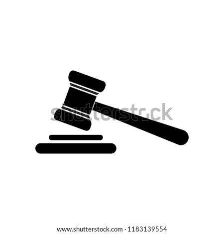 Judge hammer icon. Auction hammer icon. Auction gavel.