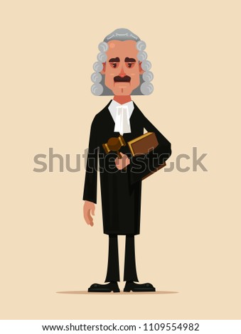 Judge man court worker character standing and holding book and hammer. Low justice people protection concept flat cartoon design graphic isolated illustration