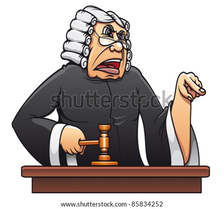 Judge with gavel for law concept design in cartoon style. Rasterized version also available in gallery