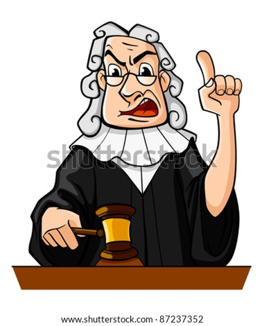 Judge with gavel makes verdict for law concept design, such a logo. Rasterized version also available in gallery - stock vector
