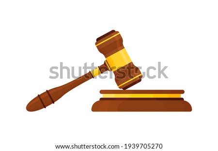 Judge Wood Hammer's auction, court. Wooden judicial ceremonial gavel of the chairman with a figured handle, for passing sentences and bills, court, justice, with a wooden stand. Isolated on a white ba ストックフォト ©