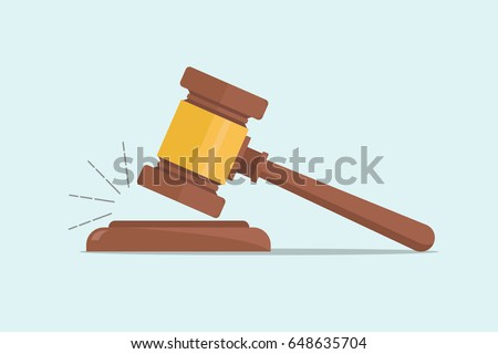 Judge Wood Hammer vector illustration, flat design, auction, judgment.