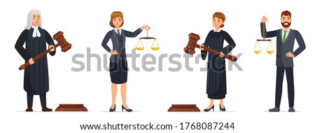 Judges and lawyers. Judge holding hammer and lawyer with scales of justice. Judicial workers, law cartoon vector illustration set. Legal verdict, woman and man with gavel. Court worker characters Foto d'archivio ©