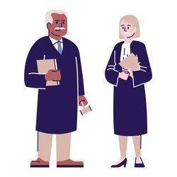 Judges flat vector characters. Lawyer couple, advocate cartoon illustration with outline. Juridical advisors, magistrates. Woman and man legal consultants, court workers isolated on white background