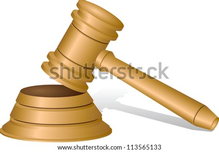 Judges gavel isolated on white, vector illustration