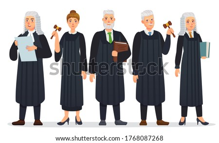 Judges team. Law judge in black robe costume, court people and justice workers vector cartoon illustration. Man and woman holding book and gavel or hummer, law occupation. Magistrate with mallet Foto d'archivio ©