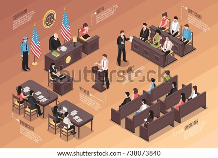Judiciary isometric Infographics layout with policeman jury court victim attorney witness  prosecutor spectators characters in courtroom interior vector illustration  Foto d'archivio ©