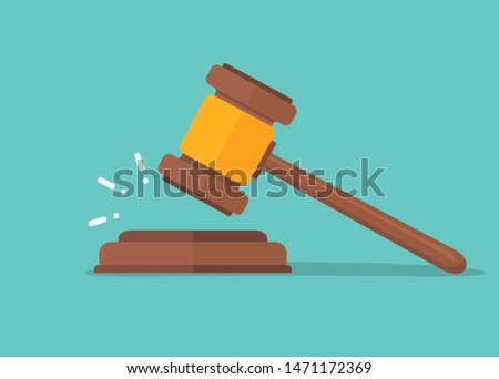 Judje hammer icon law gavel. Auction court hammer bid authority concept symbol. Foto d'archivio ©