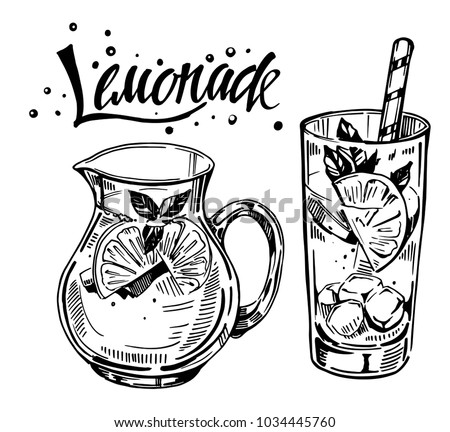 Jug and glass with lemonade. Hand drawn vector illustration
