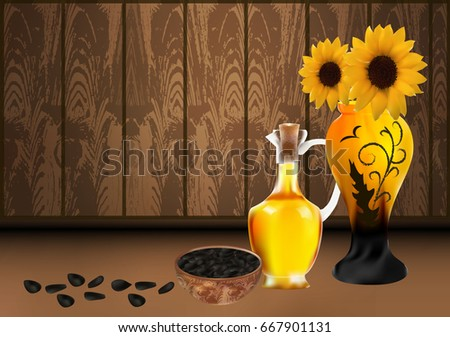 jug of sunflower oil  vase with