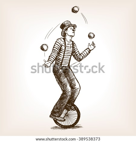 juggler man on retro vintage...