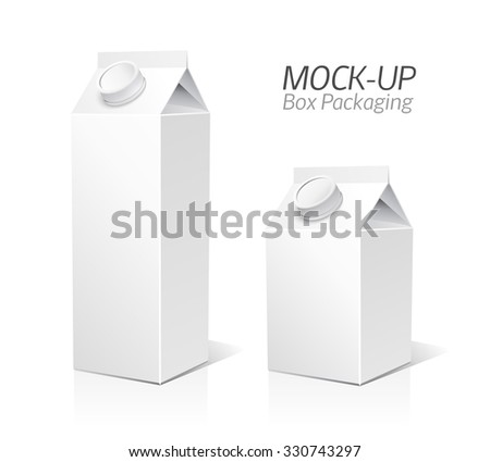 Juice and milk blank white carton boxes  3d. Isolated object. Vector illustration. Mock-up packages