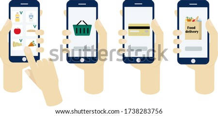Juice, apple, carrot, apples, cheese, loaf on phone screen in hands on white background.Concept for food delivery, business, restaurants, supermarkets, fresh food, mobile app, farmers, organic product