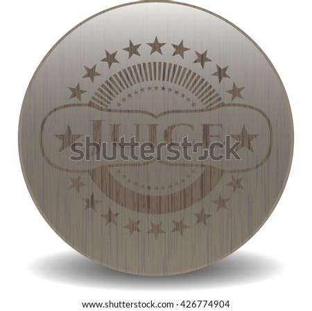 Juice badge with wooden background