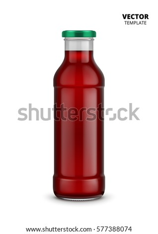 Juice bottle glass vector isolated on white background. Mock up juice bottle glass good for presentation of of juice labels. Fruit beverage packaging.