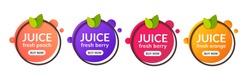 Juice fresh fruit label icon. Orange, lemon, berry, peach healthy juice design sticker.