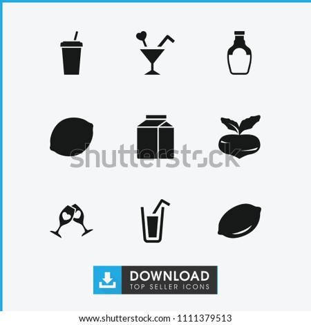 Juice icon. collection of 9 juice filled icons such as beet, lemon, cocktail, drink, milk, clink glasses. editable juice icons for web and mobile.