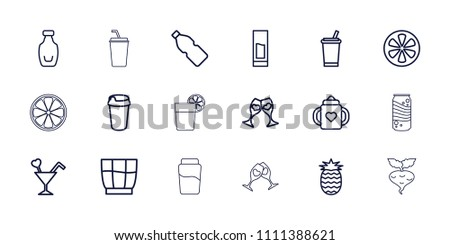 Juice icon. collection of 18 juice outline icons such as baby bottle, drink, lemon, clink glasses, cocktail, bottle, pineapple, beet. editable juice icons for web and mobile.