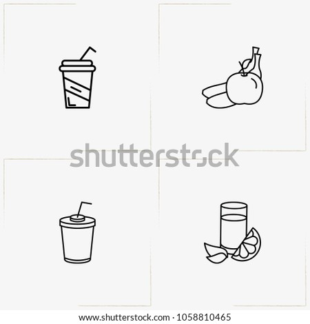 Juice line icon set with fruits , juice cup and lemon juice