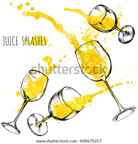 juice orange and apple splashes