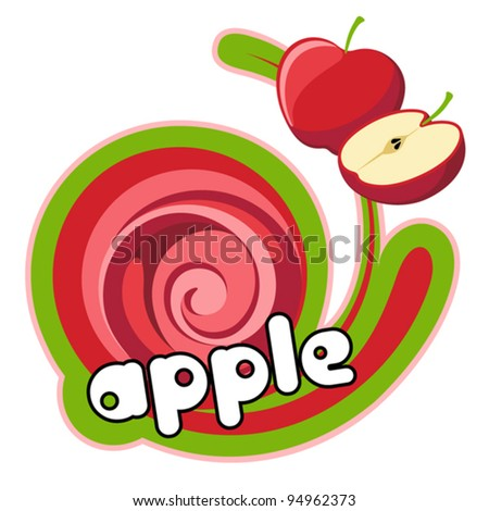 Juice red apple. Background for design of packing. Vector illustration.