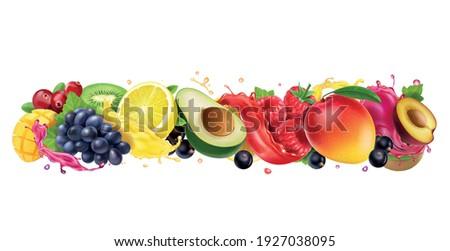 Juice splashes of fruit and berries mix. Orange, mango, raspberry, avocado, plum, grapes, cranberries, black currant mixed juice. 3d vector realistic set