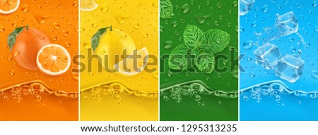 Juicy and fresh fruit. Orange, Lemon, mint, ice water. Dew drops and splash. 3d vector realistic set. High quality 50Mb eps