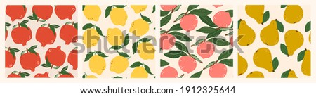 Juicy Pomegranates, Lemons, Peaches, Pears. Fresh tasty Fruits. Hand drawn colored Vector illustrations. Set of four Seamless Patterns. Background, wallpaper. For textile Prints or Wrapping paper