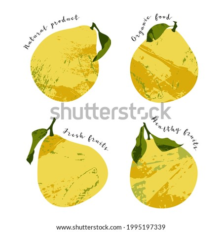 Juicy pomelo, pummelo. Fresh citrus fruit, healthy organic food. Ripe yellow fruits with leaves. Vector flat cartoon botanical illustration. Perfect for logo, stamp, brand, mark Foto stock ©