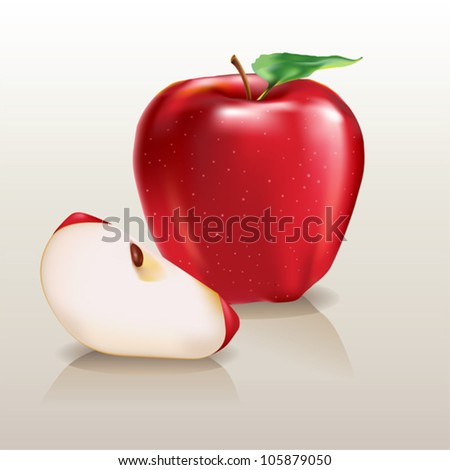juicy red apple and a piece of apple
