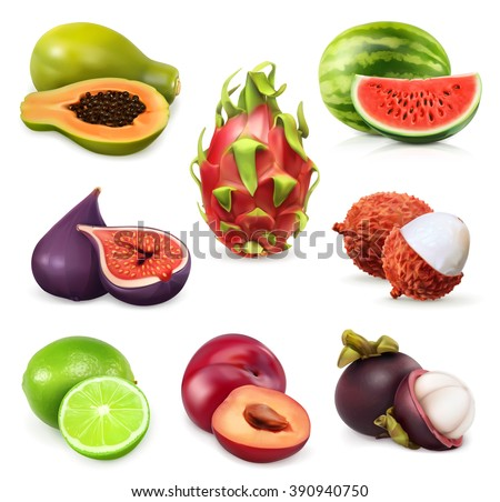 Juicy ripe sweet fruit. Vector icon set