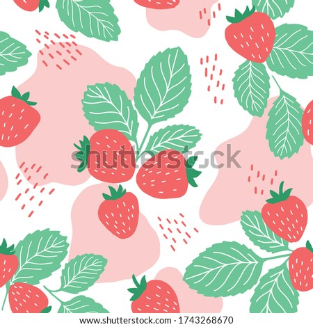 Juicy strawberry seamless pattern with leaves, lines and seeds. Fresh red organic berry print on pink and white background. Textile backdrop also good for package design, wrapping paper.