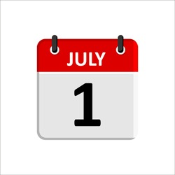 JULY - 1 Calendar Icon. Calendar Icon with white background. Flat style. Date, day and month.