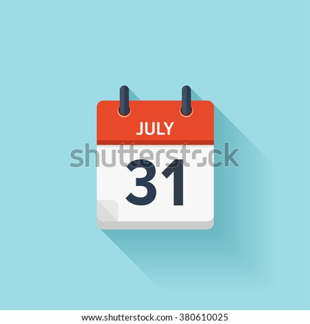 July  31.Calendar icon.Vector illustration,flat style.Date,day of month:Sunday,Monday,Tuesday,Wednesday,Thursday,Friday,Saturday.Weekend,red letter day.Calendar for 2017 year.Holidays in July. Stock photo ©