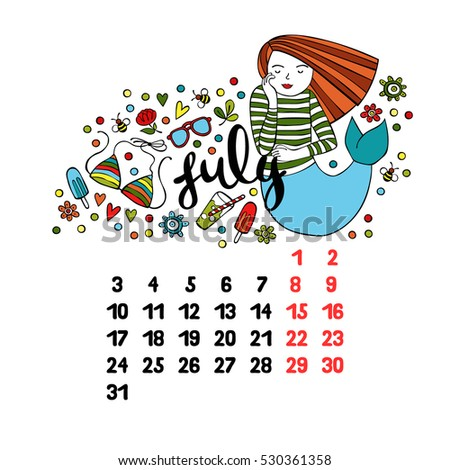 july 2017 calendar isolated