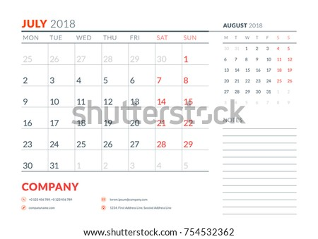 july 2018 calendar planner design template week starts on monday stationery design