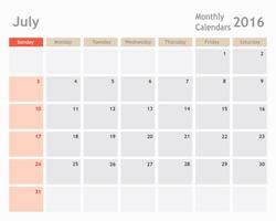 July 2016 calendar planner, monthly calender, vector illustrator