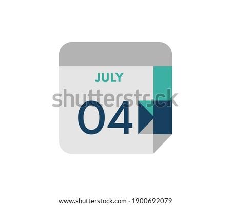 July 4 flat daily calendar date, 4 July Single Day Calendar  Icon  Foto stock ©