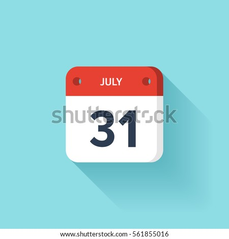 July 31. Isometric Calendar Icon With Shadow.Vector Illustration,Flat Style.Month and Date.Sunday,Monday,Tuesday,Wednesday,Thursday,Friday,Saturday.Week,Weekend,Red Letter Day. Holidays 2017. Stock photo ©