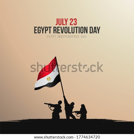 July 23 Revolution, Independence day of Egypt Greeting Card with hand drawing soldiers holding the flag of Egypt